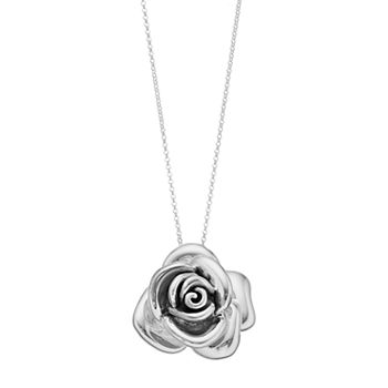 3dbf28ddb3089 Sterling Silver Electroform Large Rose Pendant Necklace