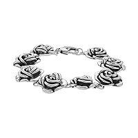 Sterling Silver Electroform Rose Bracelet