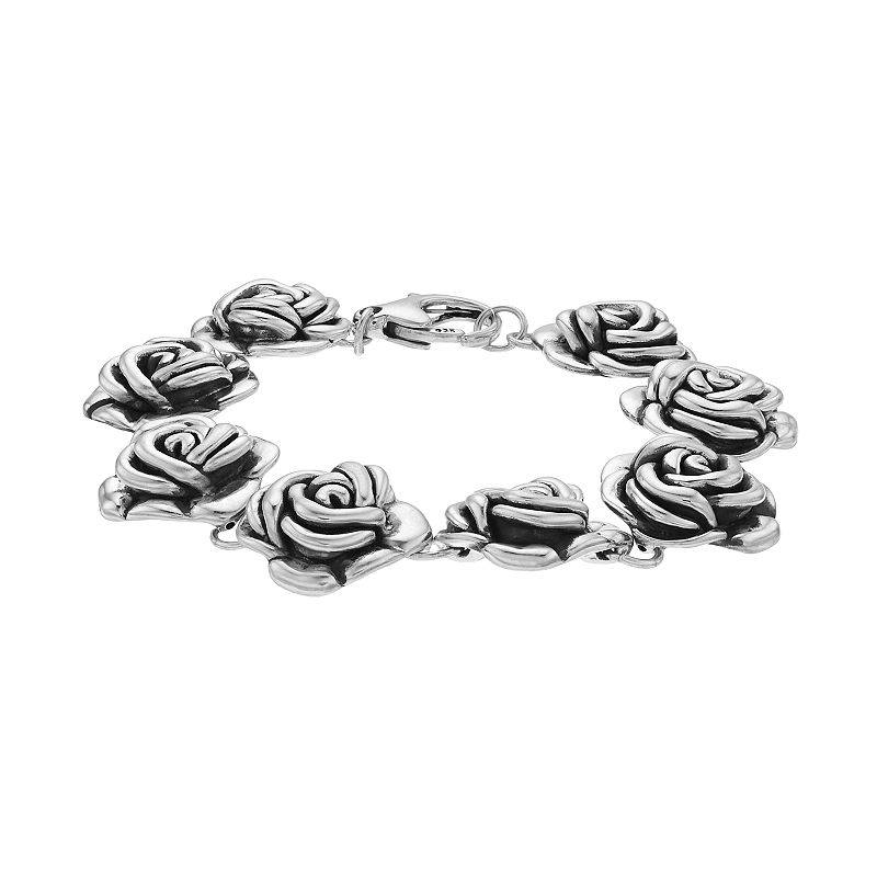 """Sterling Silver Electroform Rose Bracelet. Women's. Size: 8"""""""