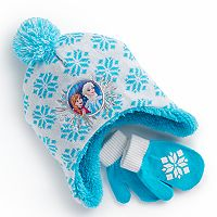 Disney's Frozen Toddler Girl Elsa & Anna Snowflake Trapper Hat & Mittens Set