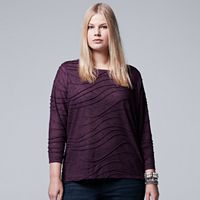 Plus Size Simply Vera Vera Wang Space-Dye Windy Jacquard Tee