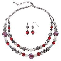 Red Beaded Double Strand Necklace & Drop Earring Set