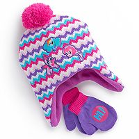 Toddler Girl My Little Pony Rainbow Dash, Twilight Sparkle & Pinkie Pie Chevron Pom Pom Trapper Hat & Mittens Set