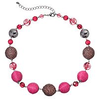 Pink Thread Wrapped Bead Chunky Necklace