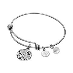 love this life Crystal 'Mother Daughter Friends Forever' Heart Charm Bangle Bracelet