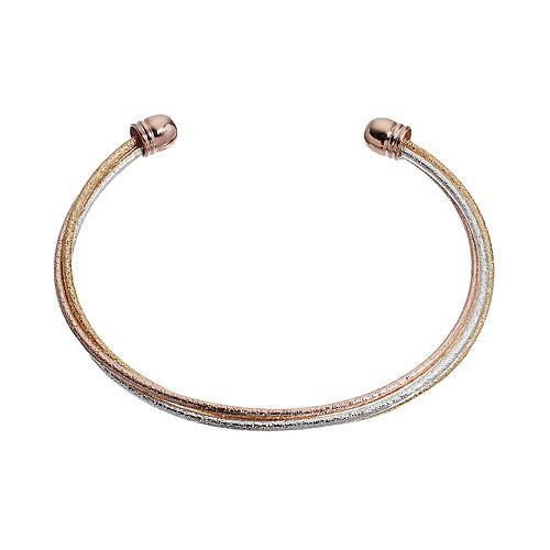 LC Lauren Conrad Runway Collection Tri Tone Textured Cuff Bracelet