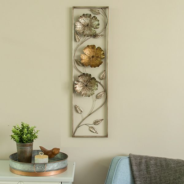Stratton Home Decor Metal Flower Leaves Wall Decor
