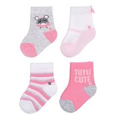 Baby Girl / Toddler Girl Jumping Beans® 4 pkCritter Crew Socks