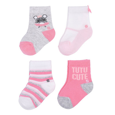 Baby Girl / Toddler Girl Jumping Beans® 4-pk. Critter Crew Socks