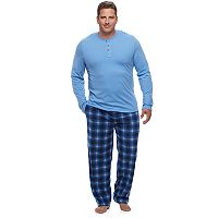 Big & Tall Chaps Solid Henley & Plaid Fleece Lounge Pants Set