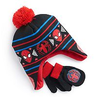 Toddler Boy Marvel Spider-Man Trapper Hat & Mittens Set