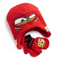 Disney / Pixar Cars Toddler Boy Lightning McQueen Trapper Hat & Mittens Set