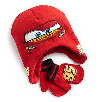 Disney / Pixar Cars Toddler Boy Lightning McQueen Trapper Hat & Mittens Set