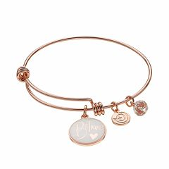 love this life 'Believe' Disc Charm Bangle Bracelet