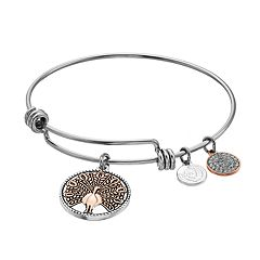 love this life Crystal Peacock Bangle Bracelet