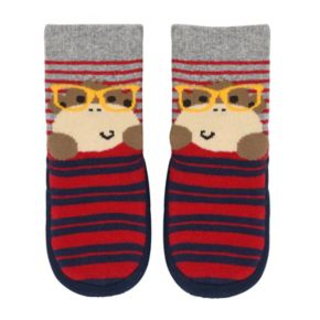 Baby Boy Jumping Beans® Monkey in Glasses Striped Slipper Socks
