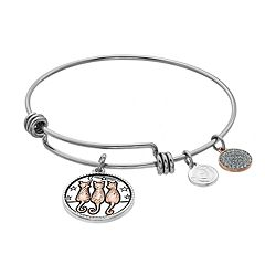 love this life Crystal Cats Disc Charm Bangle Bracelet