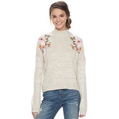 Juniors' Cloud Chaser Embroidered Floral Mockneck Sweater