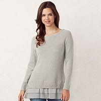 Women's LC Lauren Conrad Tiered Mock-Layer Sweater