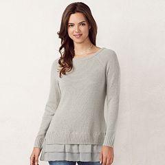 Women's LC Lauren Conrad Tiered Mock-Layer Sweater