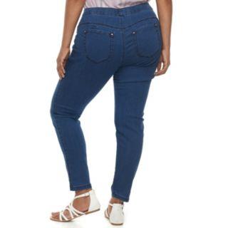Juniors' Plus Amethyst Pull-On Skinny Jeans