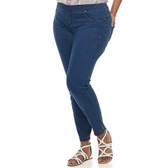 Juniors' Plus Amethyst Pull-On Skinny Jeans