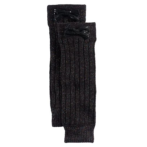 Girls 4-16 Ribbed Legwarmers With Sequin Bows