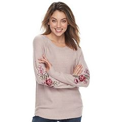 Juniors' Cloud Chaser Scoopneck Embroidered-Sleeve Sweater