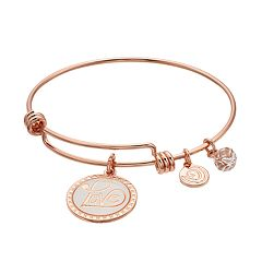 love this life 'Love' Disc Charm Bangle Bracelet