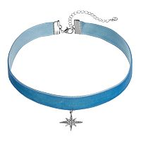 LC Lauren Conrad Runway Collection Starburst Blue Velvet Choker Necklace