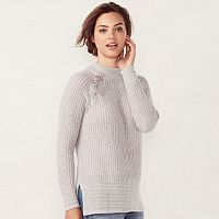 Women's LC Lauren Conrad Lace-Up Raglan Sweater