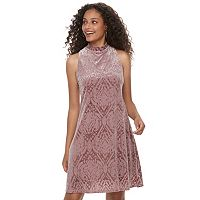 Juniors' Mudd® Burnout Velvet Swing Dress