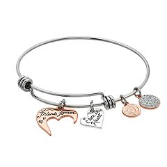 love this life Crystal 'Friends Forever' Heart Bangle Bracelet