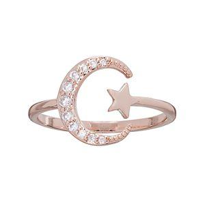 LC Lauren Conrad Runway Collection Cubic Zirconia Star & Crescent Moon Open Ring