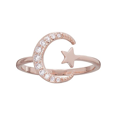 LC Lauren Conrad Runway Collection Cubic Zirconia Star & Crescent Moon Open Ring