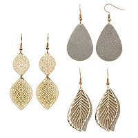 Mudd® Nickel Free Leaf, Ogee & Teardrop Earring Set