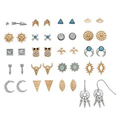 Mudd® Nickel Free Owl, Longhorn & Dream Catcher Earring Set