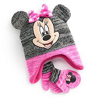 Disney's Minnie Mouse Toddler Girl 3D Ears Trapper Hat & Mittens Set
