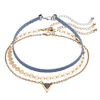Mudd® Disc Link & Triangle Choker Necklace Set