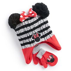 Disney's Minnie Mouse Toddler Girl 3D Pom Ears Striped Trapper Hat & Mittens Set