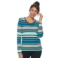 Women's Croft & Barrow® Classic Long Sleeve V-Neck Tee