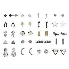 Mudd® Nickel Free Pineapple, 'Love,' Bird & Flower Stud Earring Set