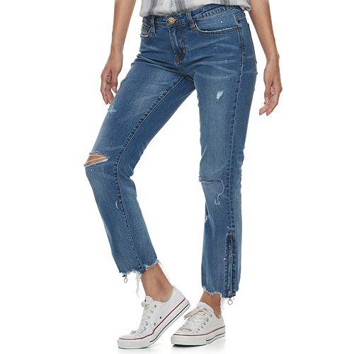 Juniors' Unionbay Trista Frayed Zipper Hem Crop Jeans