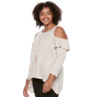 Juniors' Plus Size HeartSoul Ruffle Cold-Shoulder Top