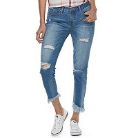 Juniors' Unionbay Duffy Fray Frayed Hem Skinny Jeans