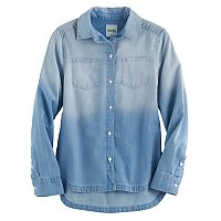 Girls 7-16 & Plus Size SO® Curved High-Low Hem Chambray Shirt