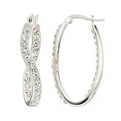 Confetti Crystal Inside-Out Twist Hoop Earrings
