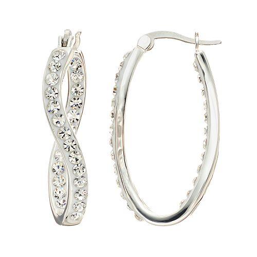 Confetti Crystal Inside-Out Twist Hoop Earrings