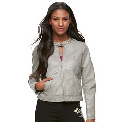 Juniors' J-2 Textured Crop Faux-Leather Jacket