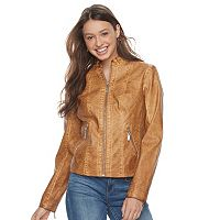 Juniors' J-2 Zipper Pocket Faux-Leather Jacket